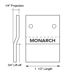Diagram of Monarch heavy duty stainless Z clip