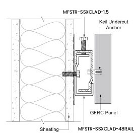 Monarch Z Clips - MFSTR-SSXCLAD Concealed Fastener System Section view